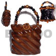 collectible handcarved laminated acacia  wood handbag /