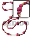 pink wood beads in 2-3mm red coco heishe