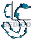 blue wood beads / coco square cut combi