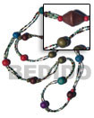 2 rows red cut glass beads w/ wood