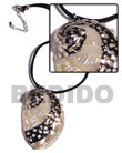 black leather thong with glistening white abalone pendant